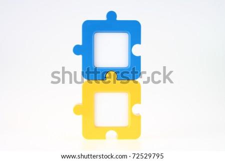 Pár függőleges fényképkeret kék citromsárga puzzle Stock fotó © pinkblue