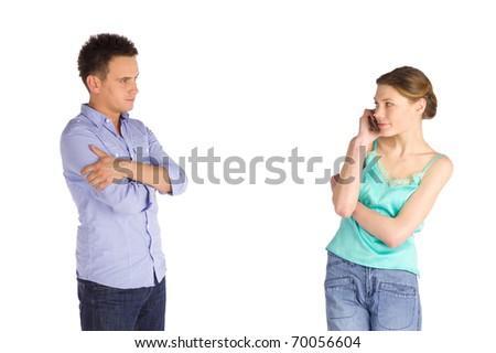 Impaciente mulher em pé olhando namorado Foto stock © dacasdo