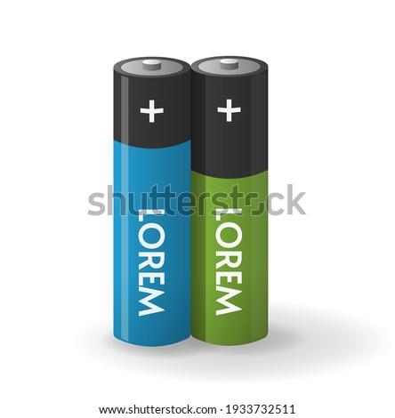 Vector illustration of two AA-size batteries isolated on white b Stock photo © tuulijumala