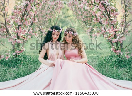 Two pretty girls blonde and brunette in colored wreaths hugging Stock photo © gromovataya