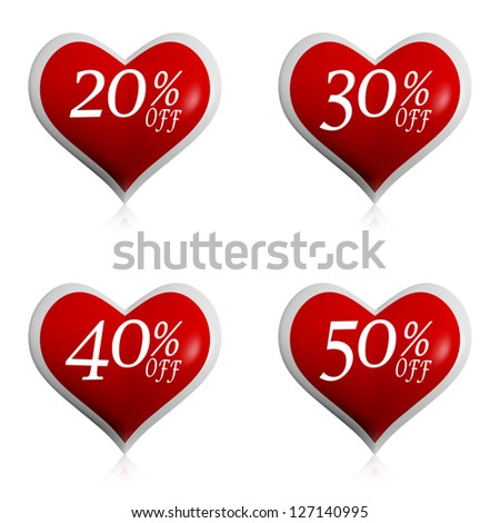 valentines day sale and different percentages rebate in hearts b Stock photo © marinini