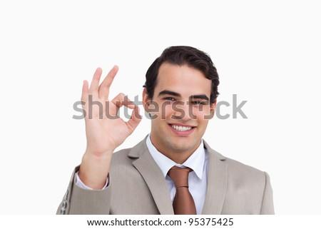 Sorridente vendedor aprovação branco homem Foto stock © wavebreak_media