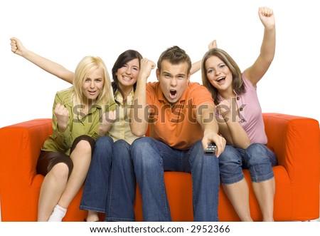 Trois amis séance canapé Rechercher un message Photo stock © wavebreak_media