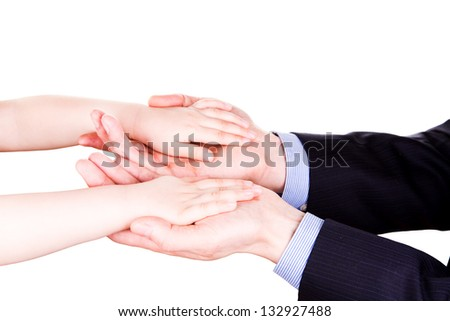 Foto stock: Child Holding Fathers Hand Trust Togethterness And Support Concept