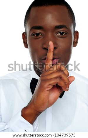 jongen · rustig · gebaar · vinger · lippen - stockfoto © dacasdo