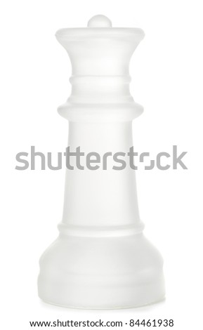 Glass chess queen is standing on board, cut out from white backg Stock photo © posterize