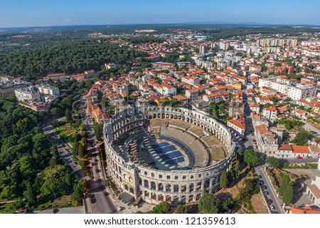 aerial view on ancient roman amphitheater and city of pula croa stock photo © anshar