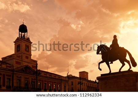 King Carlos III equestrian statue on Puerta del Sol, Madrid, Spa Stock photo © Bertl123