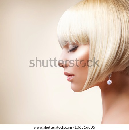 Fashion Beauty Girl Portrait with White Short Hair. Jewelry. Hai Stock photo © Victoria_Andreas