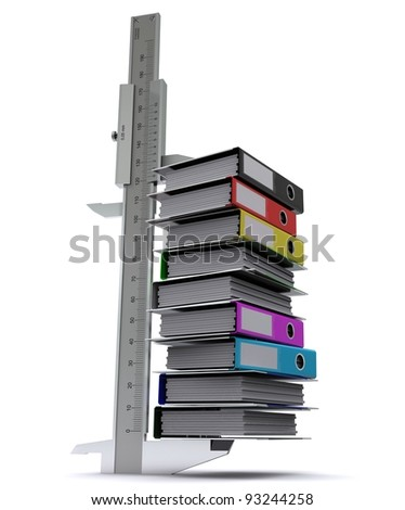Caliper measures the number of office folders of different colors. Symbol of measurement information Stock photo © cherezoff