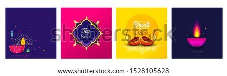 stylish glowing colorful diwali beautiful diya background vector stock photo © bharat
