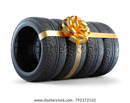 Stock photo: Four New Car Tires and White Gift with Red Ribbon On the White