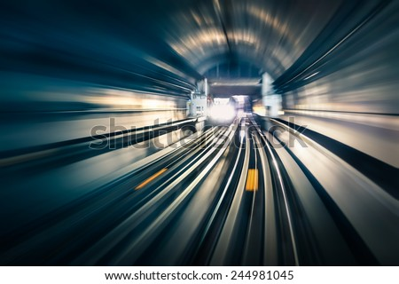 moving subway train and motion blur with an empty subway platfor stock photo © aetb
