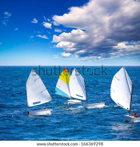 Veleiros otimista aprendizagem velejar mediterrânico pequeno Foto stock © lunamarina