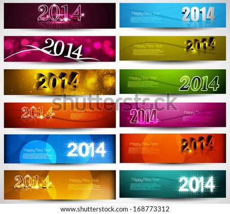 Nowy rok 2014 kolekcja kolorowy banery zestaw Zdjęcia stock © bharat