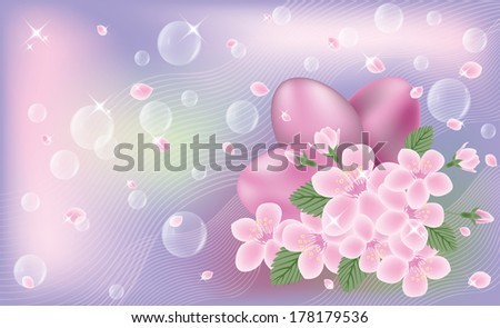 Easter cute banner with eggs and sakura flores, vector illustration Stock photo © carodi