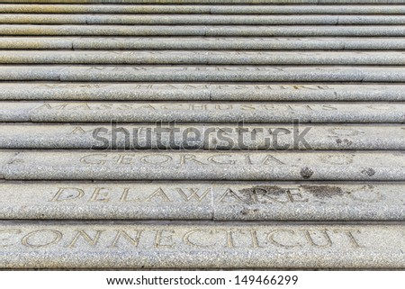 all american states are engraved at the steps to the parliament  Stock photo © meinzahn