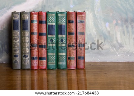 Stock photo: Richly Decorated Volumes Of Books With A Gold Lettering On The W