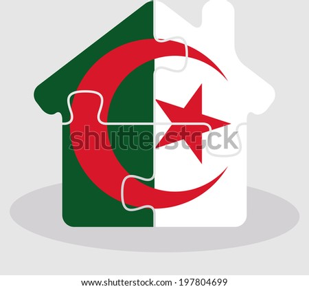 house home icon with Algerian flag in puzzle isolated on white b Stock photo © Istanbul2009