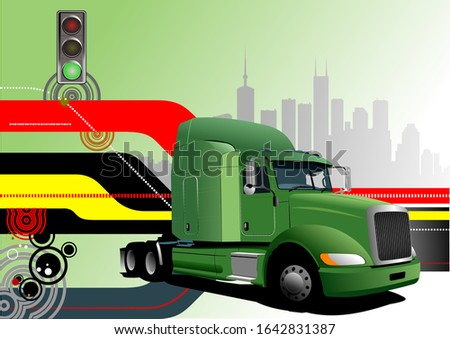 Abstract hi-tech background with green lorry image. Vector illus Stock photo © leonido