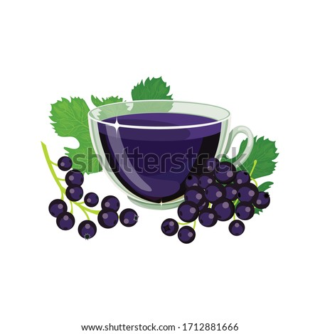 glass cup tea with fresh currant isolated on a white background stock photo © tetkoren