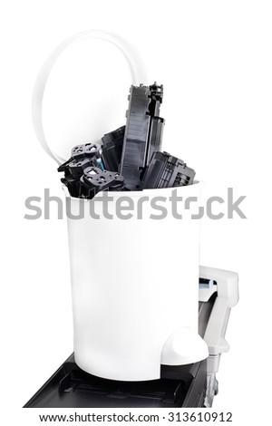 Impressora cesto de lixo em pé escritório isolado branco Foto stock © AlisLuch