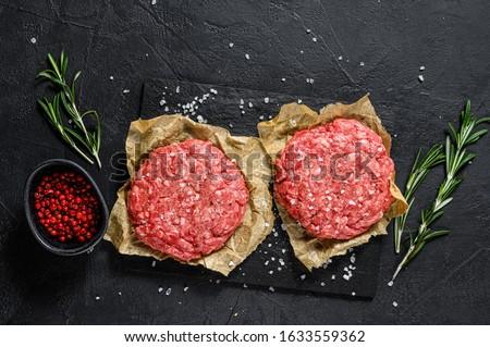 świeże hamburger kotlet wołowiny świeże warzywa tablicy Zdjęcia stock © mcherevan