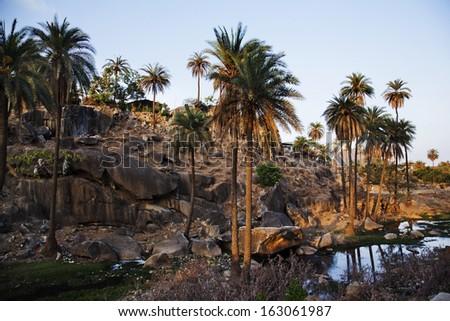 Rock goeroe bergen wijk boom landschap Stockfoto © imagedb