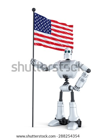 Android Robot standing with flag of USA. Isolated. Contains clipping path Stock photo © Kirill_M