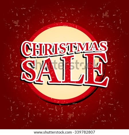 Christmas Sale In Circular Red Banner Over Old Paper Background Foto stock © marinini