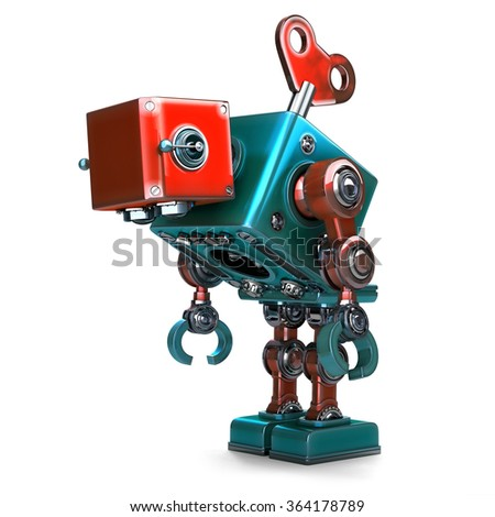 Retro Robot wound up with a key. Isolated. Contains clipping path Stock photo © Kirill_M