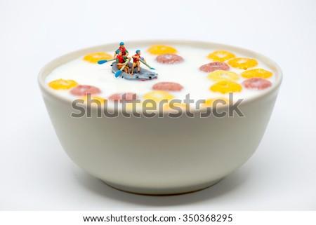 Rafting tazón colorido cereales leche saludable Foto stock © Kirill_M