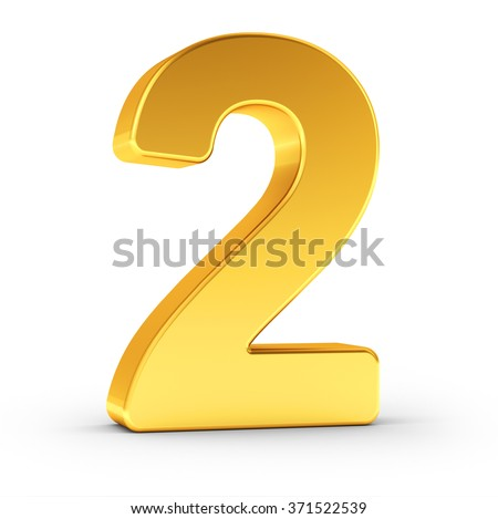 The number two as a polished golden object with clipping path Stock photo © creisinger