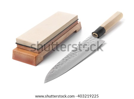 Trditional japanese kitchen knife and water stone. Isolated on w Stock photo © Leonardi