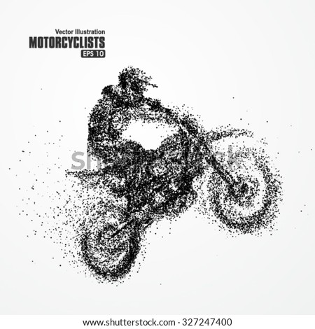 Particles of motorcycle riders,full enterprising across significance vector illustration. stock photo © Samoilik