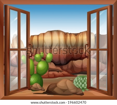 An open window with a view of the desert and the cactus plants Stock photo © bluering