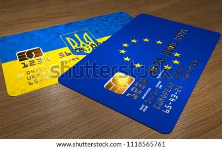 Cartão de crédito Ucrânia bandeira banco apresentações negócio Foto stock © tkacchuk