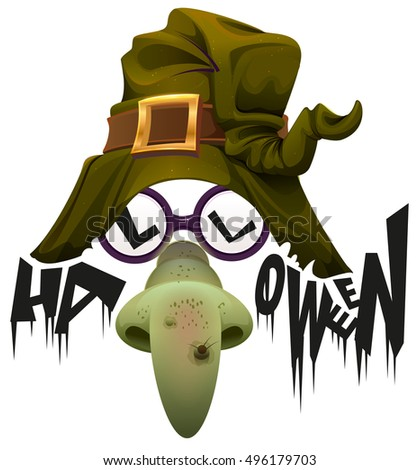 witchs hat green nose and glasses accessory for halloween party stock photo © orensila