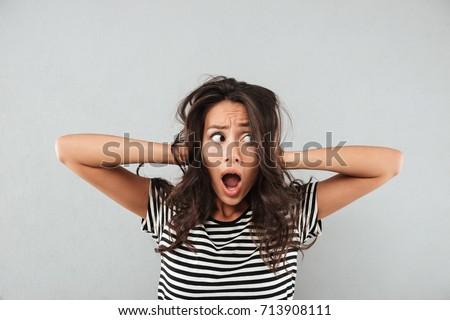 Stres kobieta crazy włosy Zdjęcia stock © ichiosea