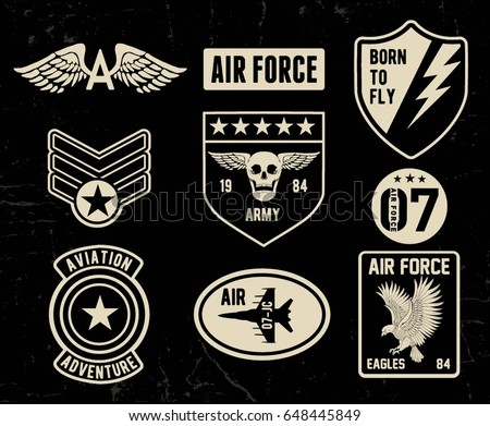 army logo skull soldiers badge military emblem wings and weap stock photo © popaukropa