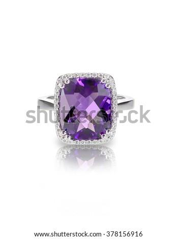 amethyst gemstone isolated jewelry purple stone on white backgr stock photo © maryvalery