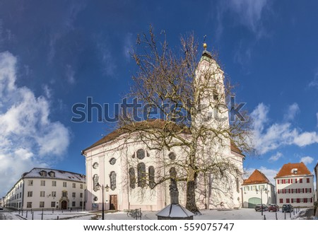 view to church of our landy in small town of Guenzburg in Bavari Stock photo © meinzahn