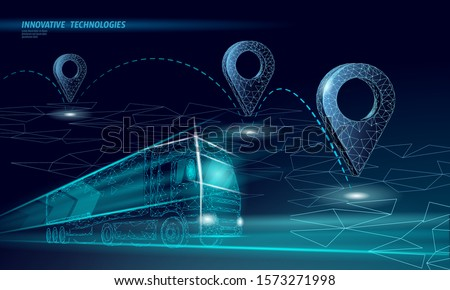 3d Illustration of truck transportation Pin Pointer on tablet isolated stock photo © tussik
