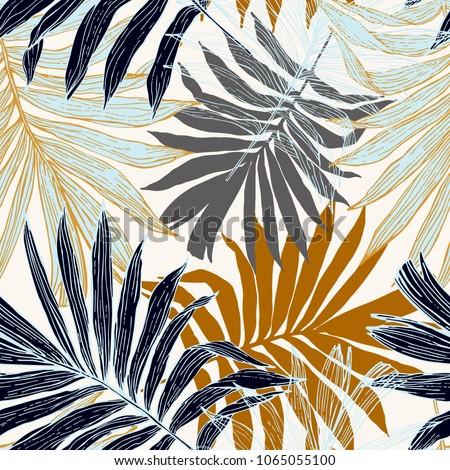 бесшовный тропические джунгли цветочный шаблон Palm Сток-фото © fresh_5265954