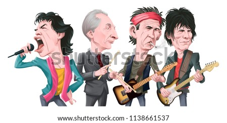 Keith Richards of The Rolling Stones Cartoon Caricature Portrait Illustration. January 9, 2017 Stock photo © doddis