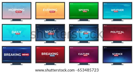 Mass media. Morning, night, daily and evening news. Breaking news banner. Live. Television studio. T Stock photo © Leo_Edition
