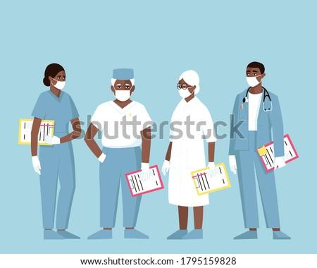 ストックフォト: 笑みを浮かべて · 医師 · 着用 · 眼鏡 · 聴診器 · 漫画