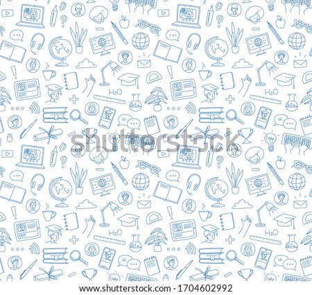 Online Courses concept with Business Doodle design style: interactive studies, best books ,top resou Stock photo © DavidArts