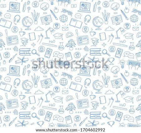 online courses concept with business doodle design style interactive studies best books top resou stock photo © davidarts