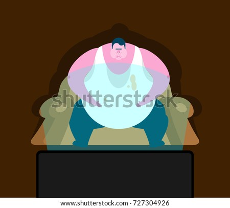 Fat guy is sitting on chair and TV. Glutton Thick man and televi Stock photo © popaukropa
